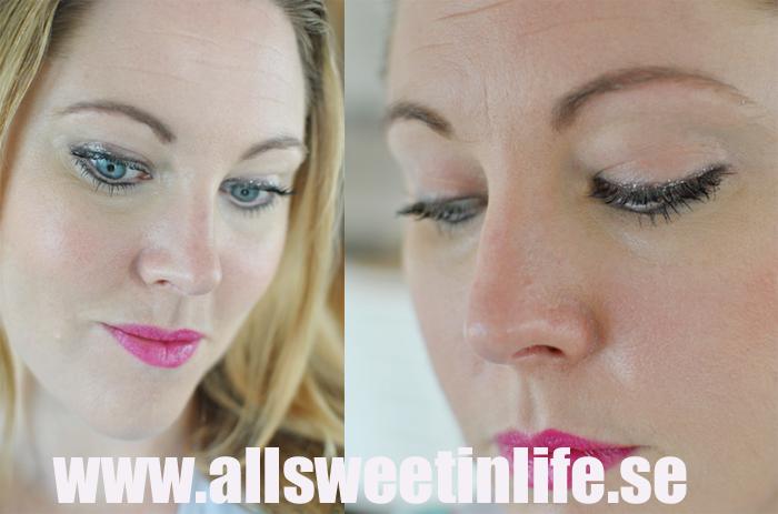 Sminkning med Sephoras Mega Volyme Mascara och glitter eyeliner
