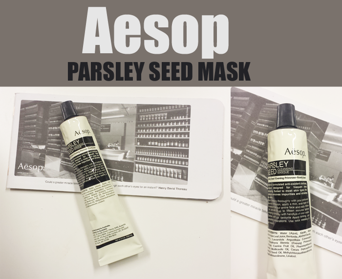 Testar hyllade Aesop Parsley Seed mask