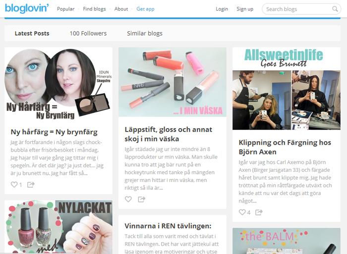 Allsweetinlife firar 100 följare på bloglovin