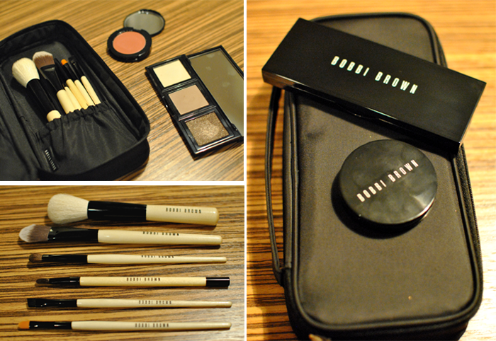 Goodiebag innehållandes basic brush set, ögonskuggor och creme rouge
