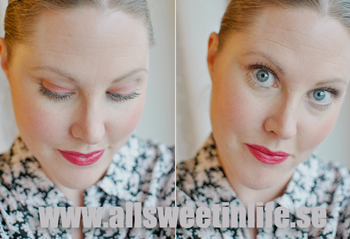 Läppstiftet Prepare for Pleasure och Rougen Scene to Be Seen i en makeup look