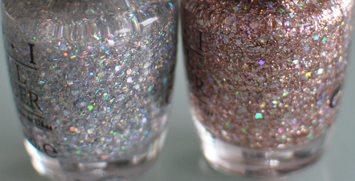 Här har vi OPI lacken: Desperately Seeking Sequins och Pink Of Light