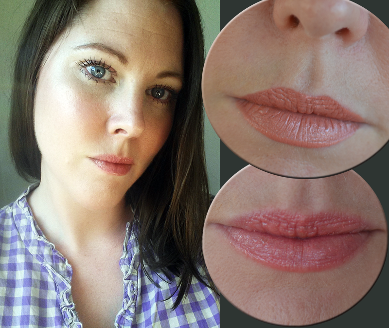 Swatches and makeup look using Babor Lipgloss stick in colour 01 and 02