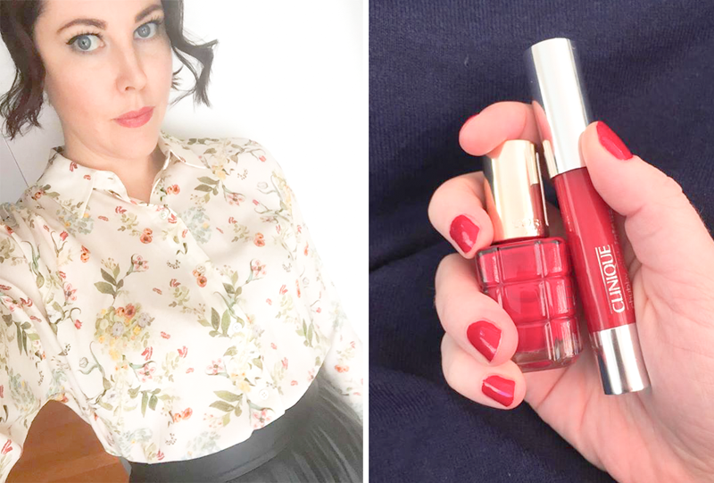 Red nails and lipstick