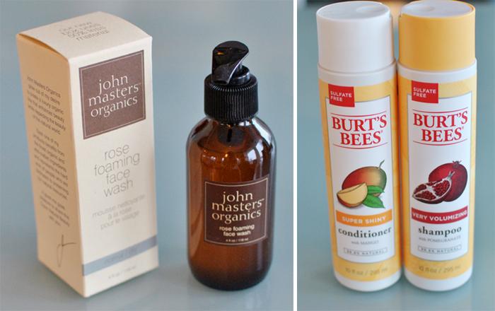John Masters cleanser och Burts and Bees schampo och balsam